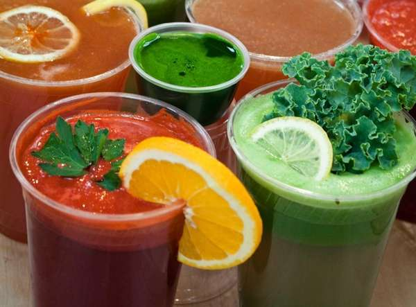 A variety of fresh juices at Organic Corner