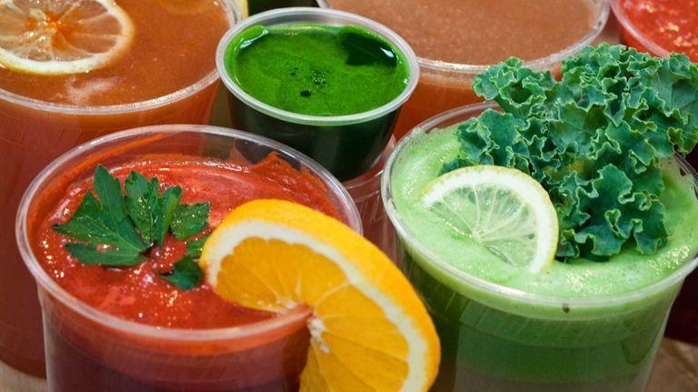 A variety of fresh juices at Organic Corner