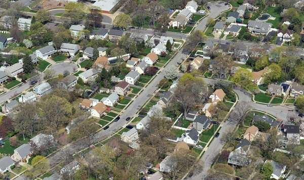 An aerial view of a neighborhood in North