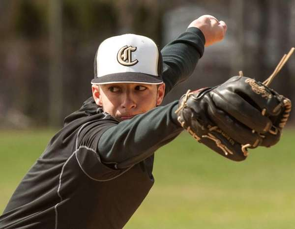 Commack pitcher Jordan Deitch throws during practice on