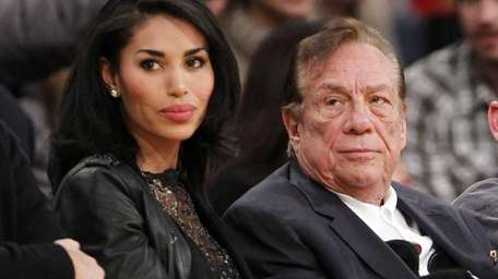 Los Angeles Clippers owner Donald Sterling, with friend
