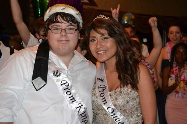 A luau theme and a new prom king