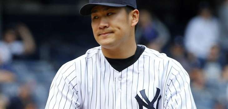 Masahiro Tanaka of the Yankees looks on in