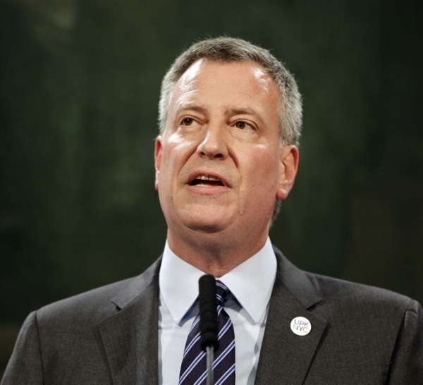 New York City Mayor Bill de Blasio speaking