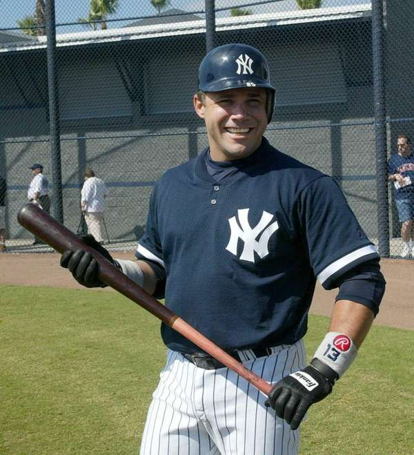 Jim Leyritz gets ready for batting practice in