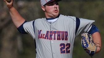 MacArthur starting pitcher Adam Heidenfelder delivers to the