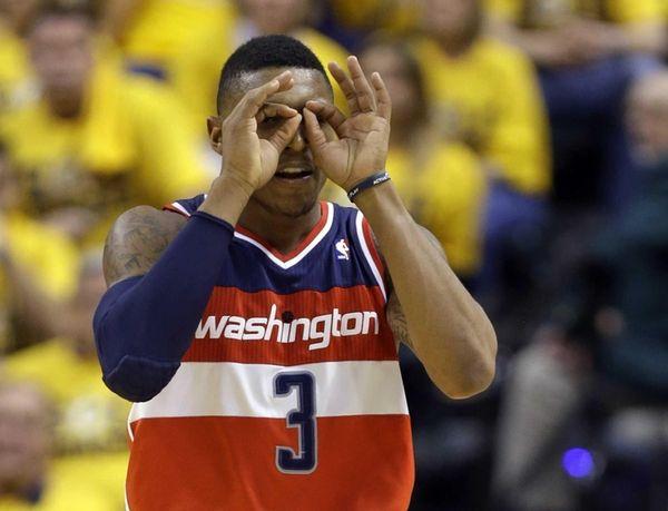 Washington Wizards guard Bradley Beal celebrates a three-point