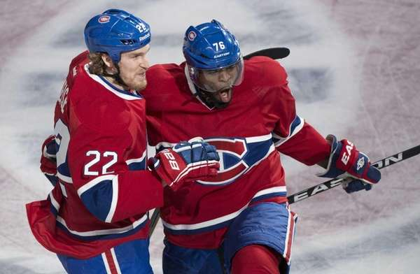 The Montreal Canadiens' P.K. Subban, right, celebrates with