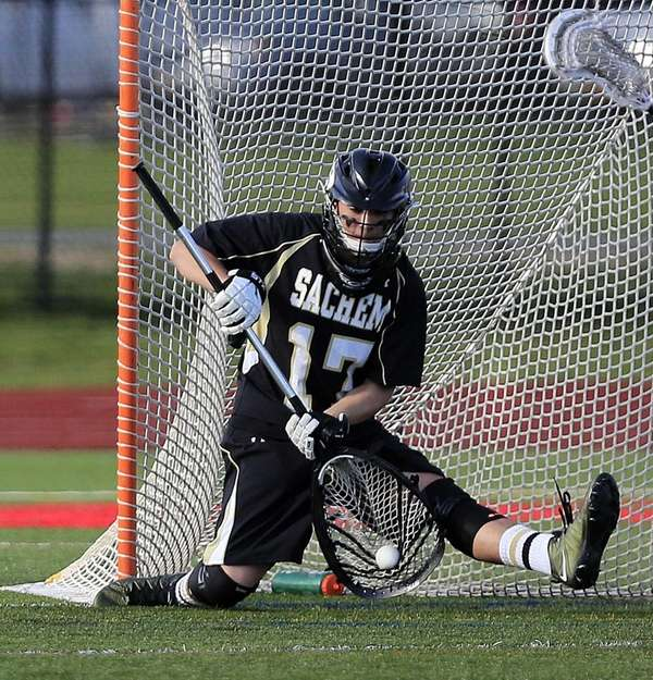 Sachem North goalie Jacob Giacolone makes a save
