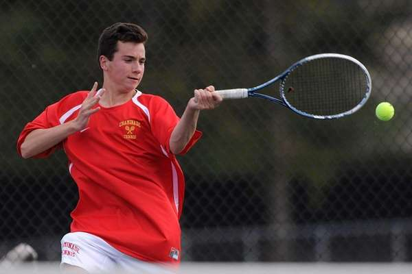 Colin Sacco of Chaminade returns a volley during