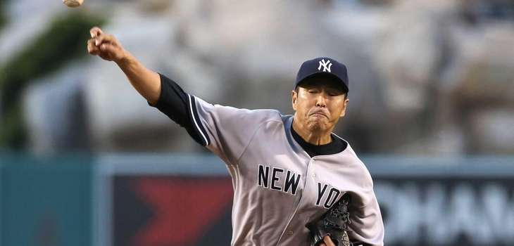 Hiroki Kuroda of the Yankees throws a pitch