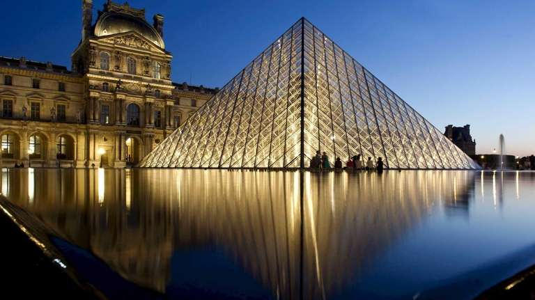 The Louvre Pyramid, completed in 1989, is made