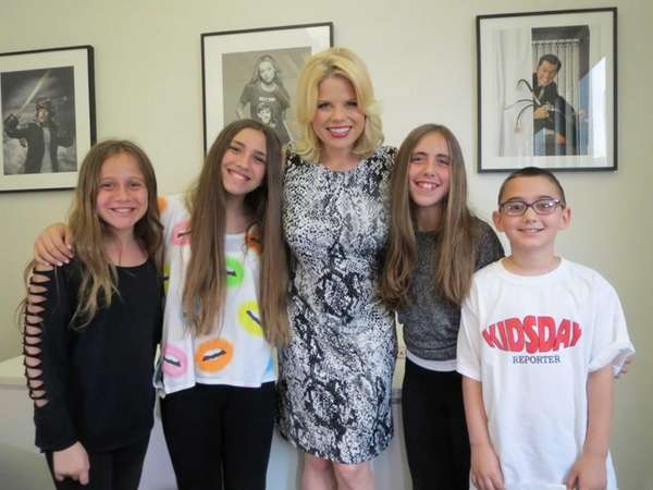 Actress Megan Hilty with Kidsday reporters Mackensi Dennino,