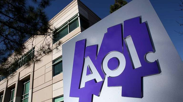The AOL logo is posted on a sign