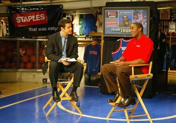 Isiah Thomas, right, speaks with NBA anchor Spero