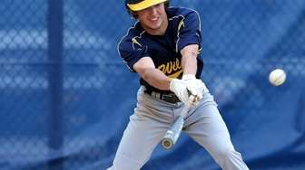 Shoreham's Brian Morrell bloops a single to leftfield