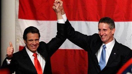 New York Gov.-elect Andrew Cuomo and Lt. Gov.-elect