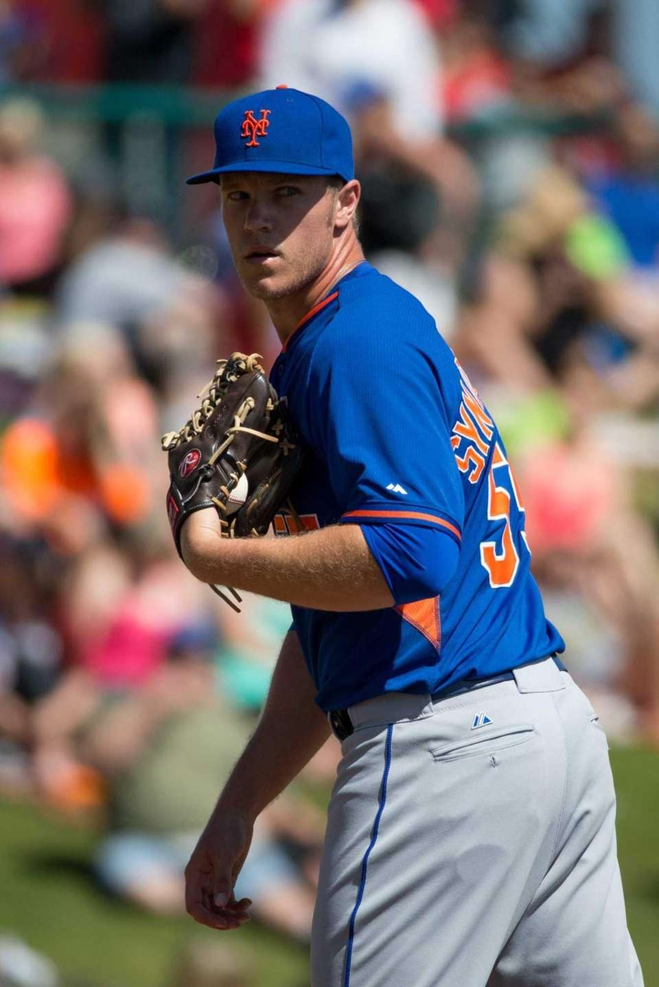 Noah Syndergaard #55 of the Mets looks toward