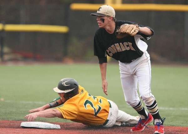 Daniel Morhaim of Ward Melville steals second as