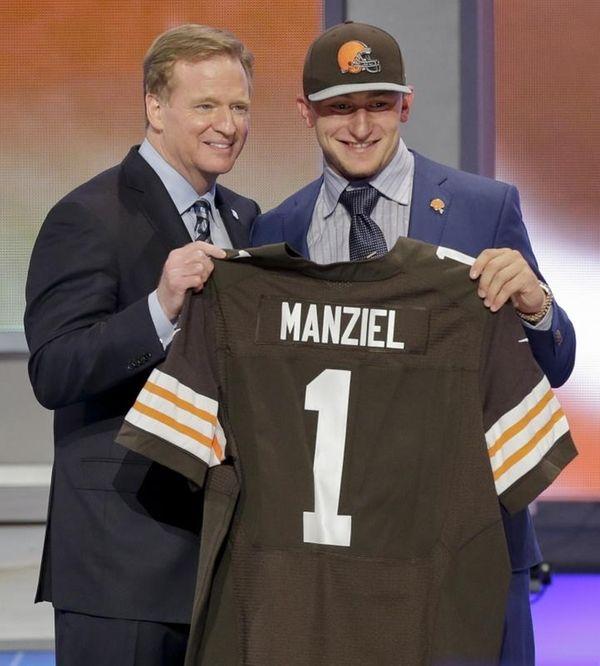 Texas A&M quarterback Johnny Manziel poses with NFL