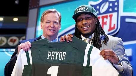 Calvin Pryor poses with NFL Commissioner Roger Goodell