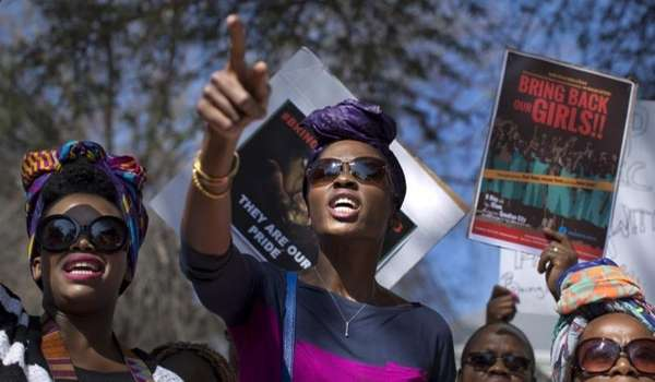 South Africans protest in solidarity against the abduction