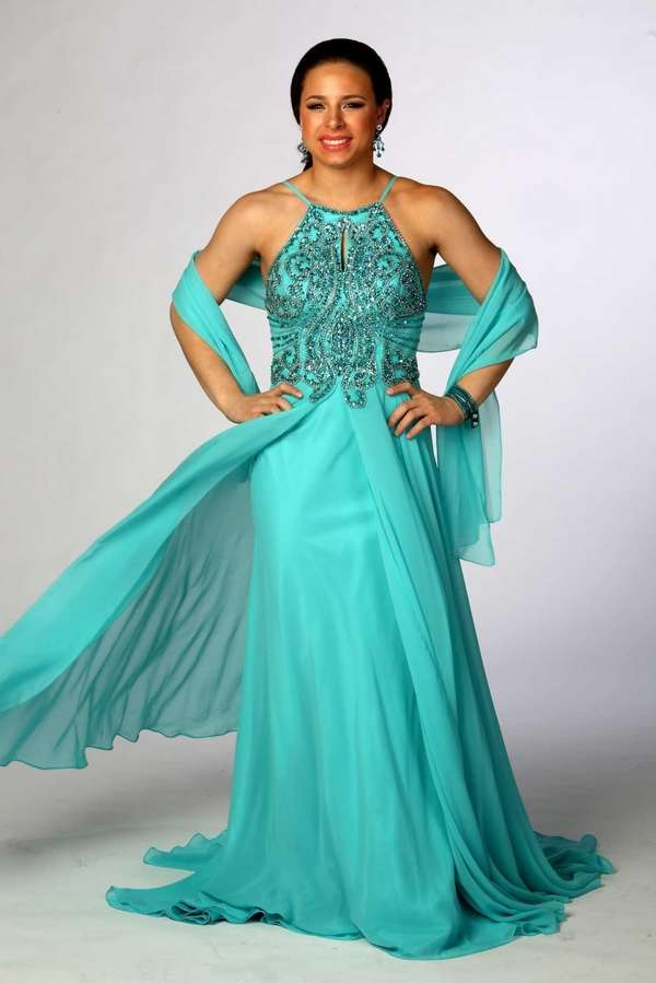 2. The splitA regal aqua halter dress that