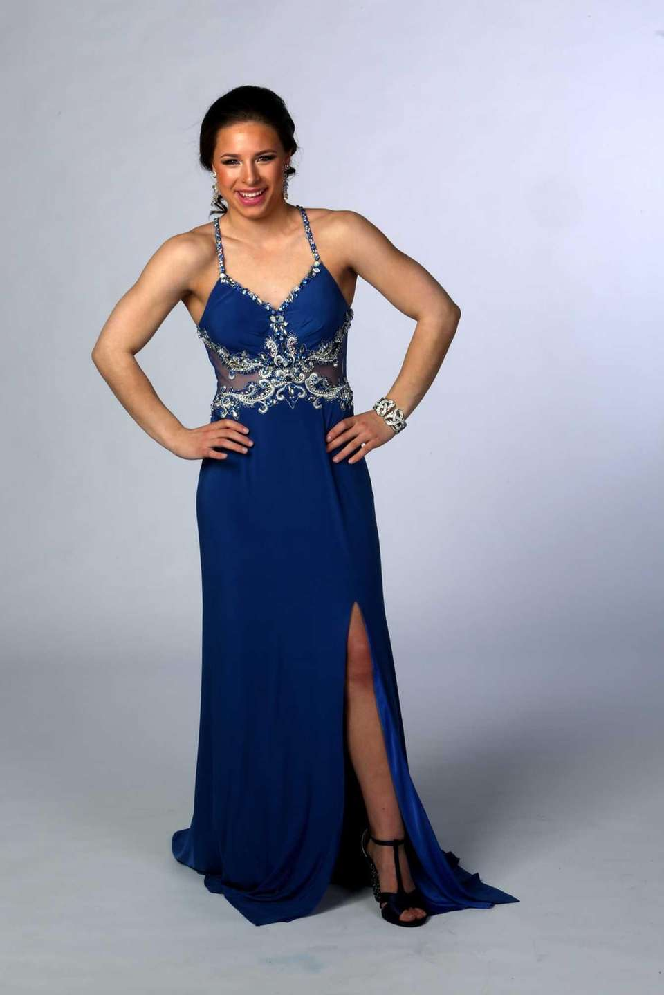 1. The round offA sapphire blue gown with