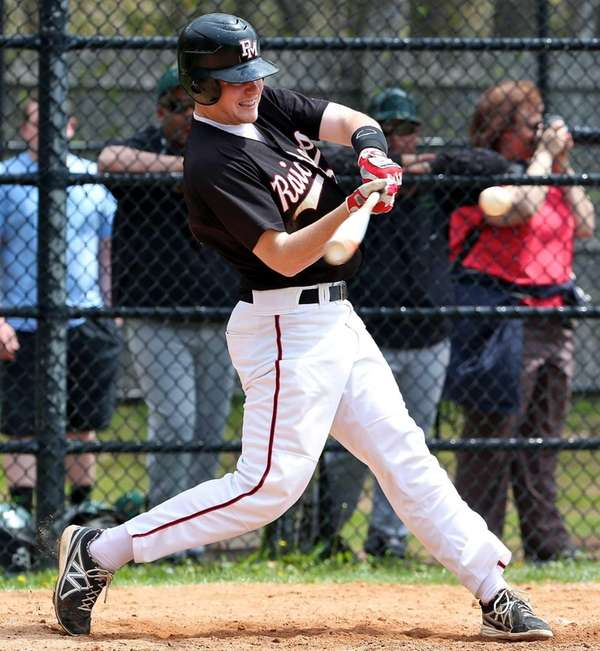 Patchogue-Medford's Matt Codispoti connects for a single in