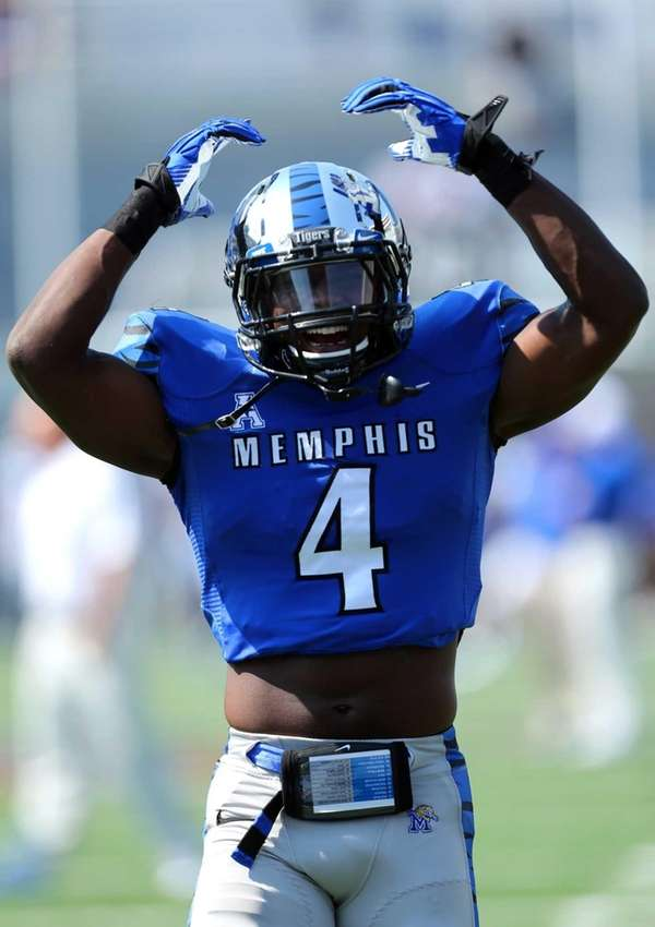 Lonnie Ballentine of the Memphis Tigers cheers before