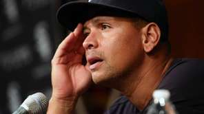 The New York Yankees' Alex Rodriguez speaks at