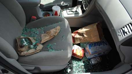 Crime scene photo of Porter Fischer's rental car,
