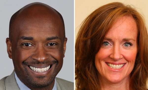 Kevan Abrahams, left, and Kathleen Rice, right, are