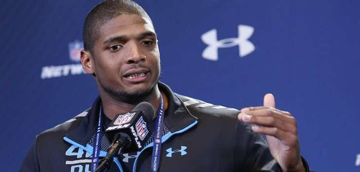 Former Missouri defensive lineman Michael Sam speaks to