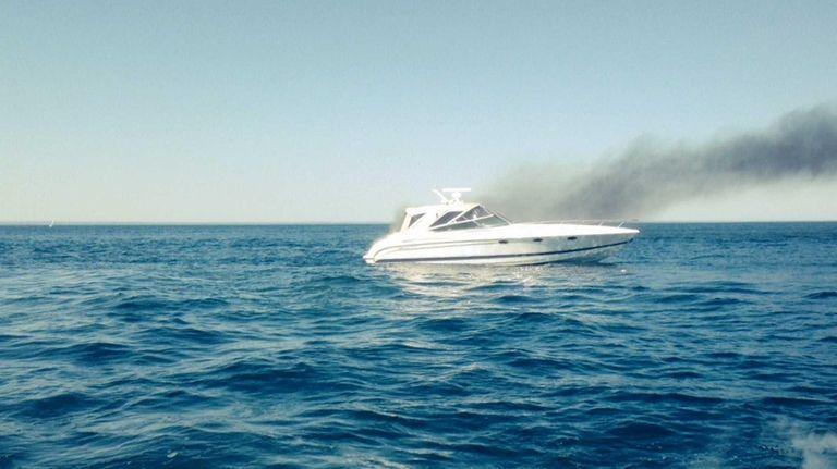 Long Island Bureau.Suffolk Police Marine Bureau Rescues Pair From Burning Boat On Long