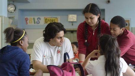 Akash Nandi, second from left, tutors from left: