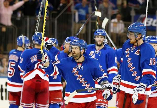 The Rangers' Martin St. Louis celebrates after a
