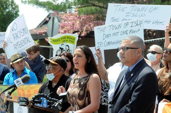 Suffolk County Legislator Monica Martinez, speaks during a