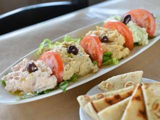 Yevma's sample platter consists of four dips --