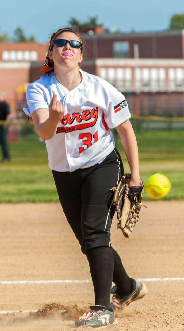 Carey pitcher Jenna Turato throws against Plainedge on