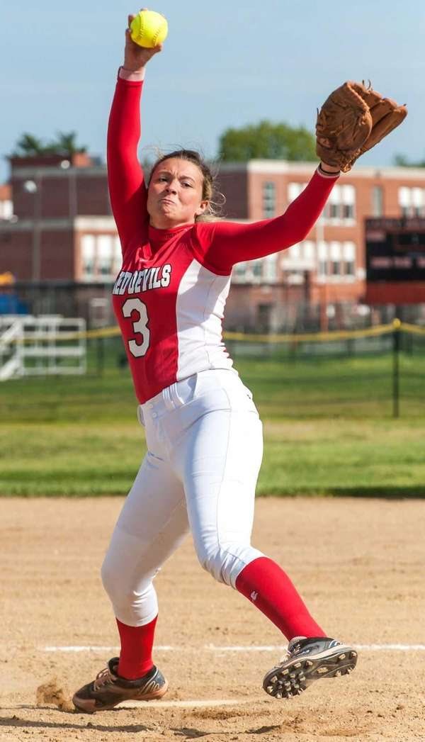 Plainedge pitcher Nicole Francisco throws against Carey on