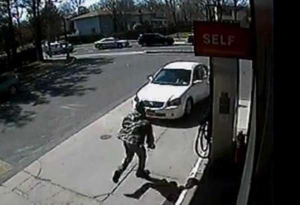 Surveillance footage from the Lukoil gas station in