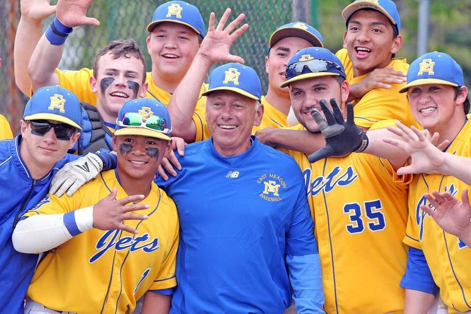 East Meadow baseball head coach Ken Sicoli celebrates
