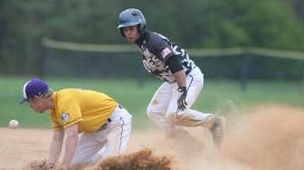 Dan McEvoy of Westhampton steals second base and