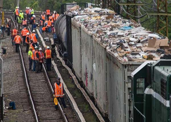 A freight train partially derailed at the LIRR