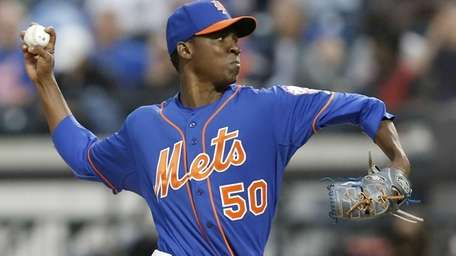 Mets starting pitcher Rafael Montero (50), who was