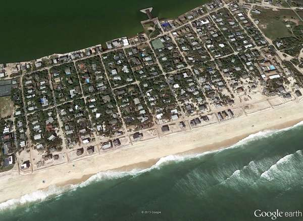 Satellite view of Ocean Bay Park in Fire