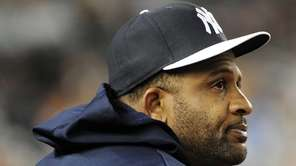 Yankees starting pitcher CC Sabathia watches the interleague