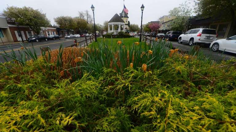The village triangle in Amityville Village. Attractions in
