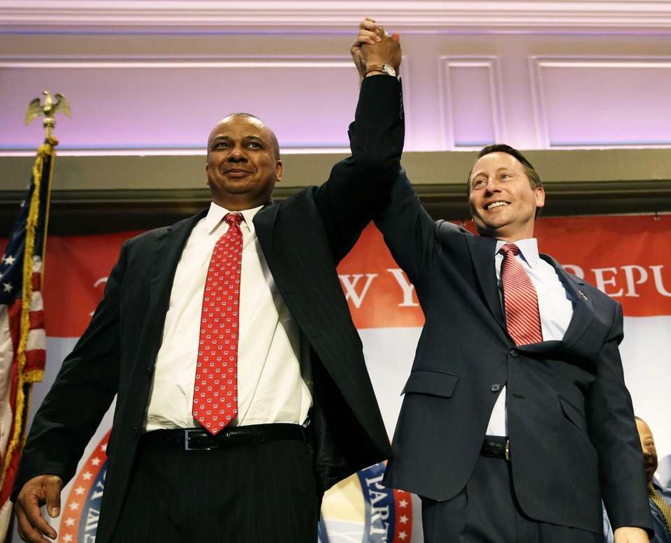 Republican nominees Rob Astorino, right, for governor and